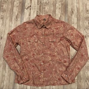 Prana Western inspired button front paisley shirt